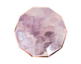 Rose Gold Blush Lavender Large Plates - pack of 8 - paper plates birthday wedding baby bridal shower  Harlow & Grey