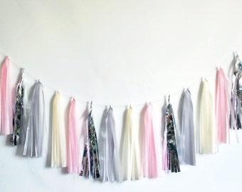 Pink Grey Silver tassel garland