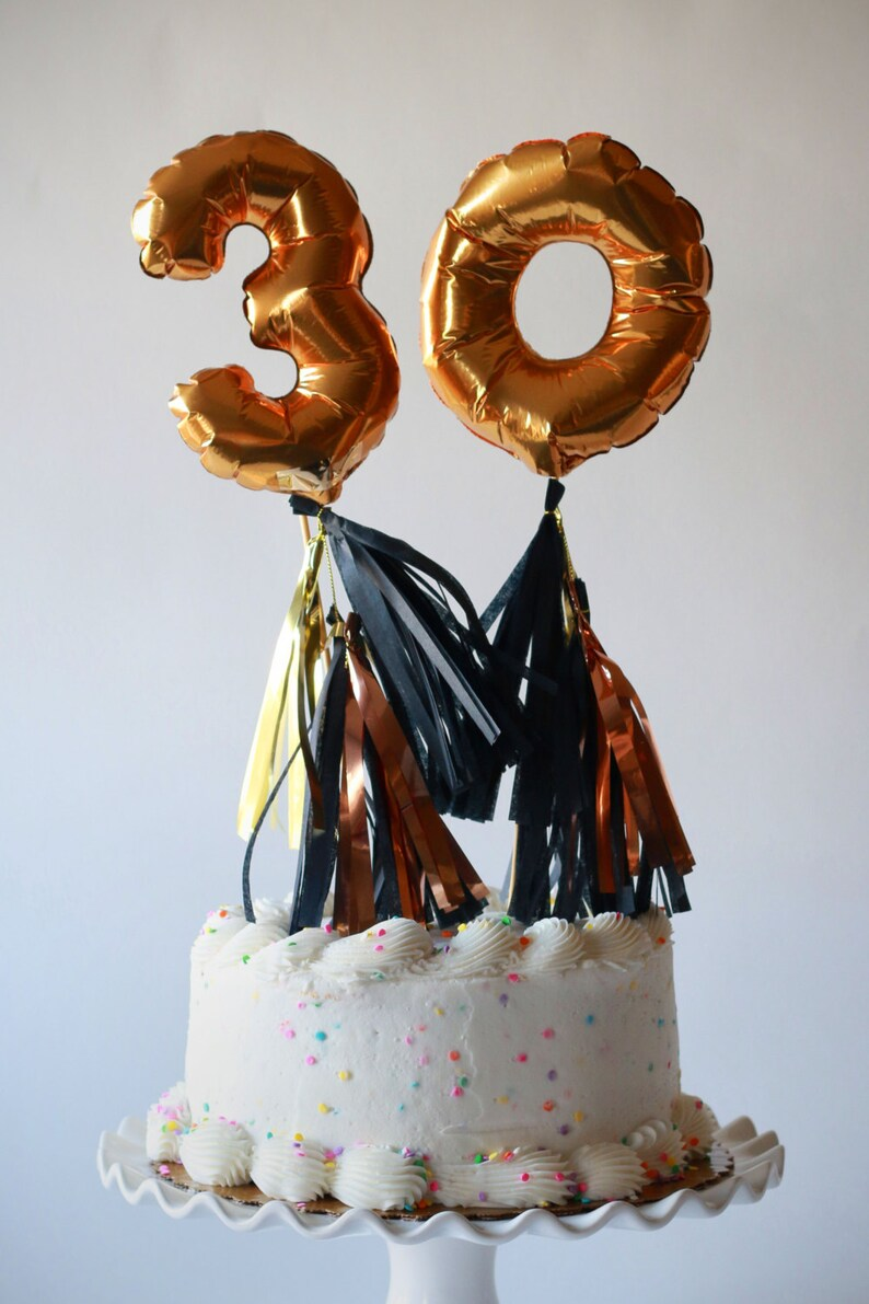 Mini Gold Foil Mylar Balloon With Tassels Cake Topper Table