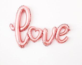 Rose Gold LOVE air fill jumbo mylar balloon wedding engagement bridal shower calligraphy script - Air Fill balloon