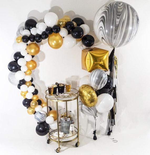 Beer Me Balloon Bouquet Black White Gold Bundle