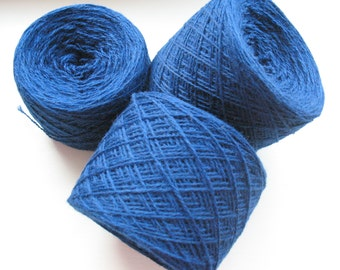 Wool Yarn Blue 350 gr 12.2oz skein / 2 ply, each skein contains approximately 1500-1700 yds