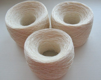 Linen Yarn white 200gr (7 oz ), Cobweb / 4 ply, approximately, each ball contains approximately 800 yds
