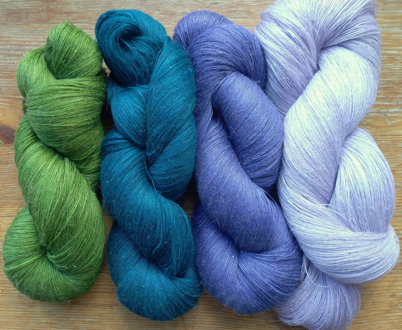 14 oz Cobweb  1 ply Linen Yarn Blue Green 400 gr each hank contains approximately 3000 yds