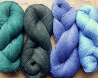 Linen Yarn Purple Green 400 gr (14 oz ), Cobweb / 1 ply, each hank contains approximately 3000 yds