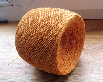 Cotton Yarn Orange 100 gr (3.52 oz ), Cobweb / 2 ply, each ball contains approximately 800 yds