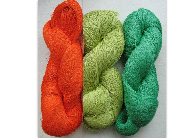 Linen Yarn Red Orange Salad Green 300 gr 10.5 oz Cobweb