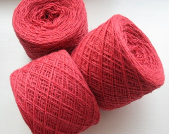Wool Yarn Red Pink 350 gr 12.2oz skein / 2 ply, each skein contains approximately 1500-1700 yds