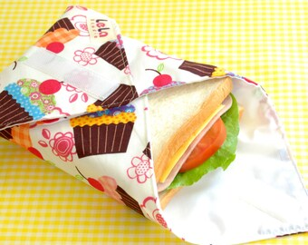 Reusable Sandwich Wrap, Fabric Lunch Wrap, Eco friendly Sandwich Wrap, Cotton Sandwich Wrap, Lunch Placemat, Cupcake on White