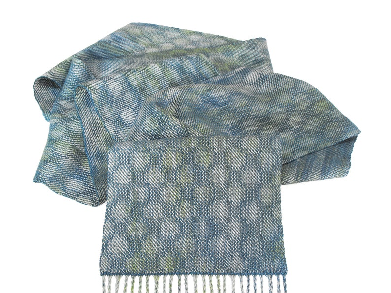 00897e6f351 Blue Polka Dots Scarf Hand Dyed Silk and Tencel Scarf