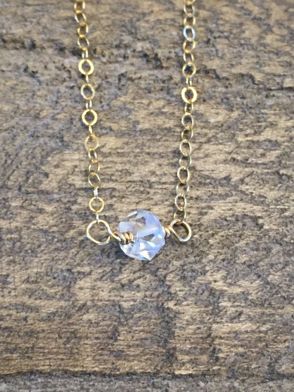 herkimer diamond necklace dainty gold silver necklace etsy. Black Bedroom Furniture Sets. Home Design Ideas