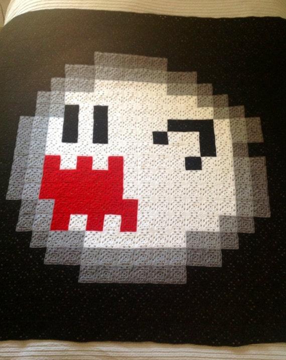 Grande Mario Super Boo 8 bits cuadrados ganchillo manta a la
