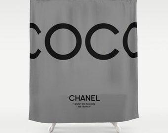 Grey And Black Shower Curtain Bathroom Decor Coco Chanel Home Print