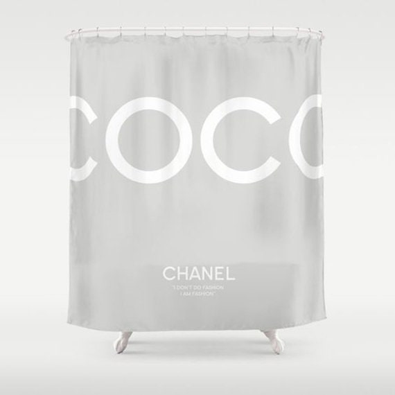 Grey And White Shower Curtain Bathroom Decor Coco Chanel