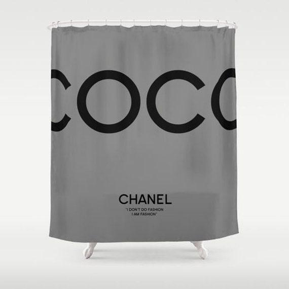 Grey And Black Shower Curtain Bathroom Decor Coco Chanel
