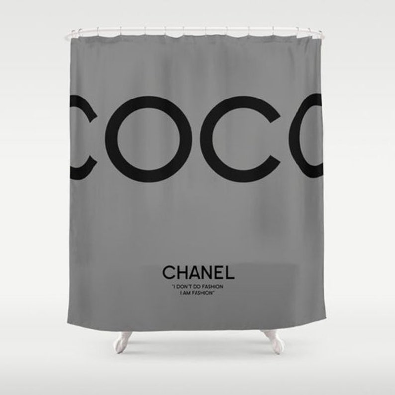 Grey And Black Shower Curtain Bathroom Decor Coco Chanel