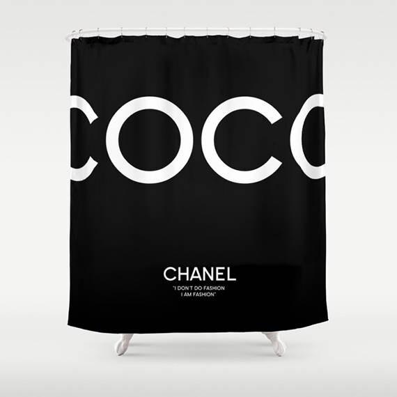 Black And White Bathroom Decor Coco Chanel Shower Curtain Home Print