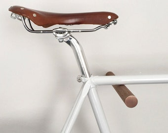 wall mounted bike rack, bicycle storage, wooden bike hook // BLACK WALNUT // COPPER