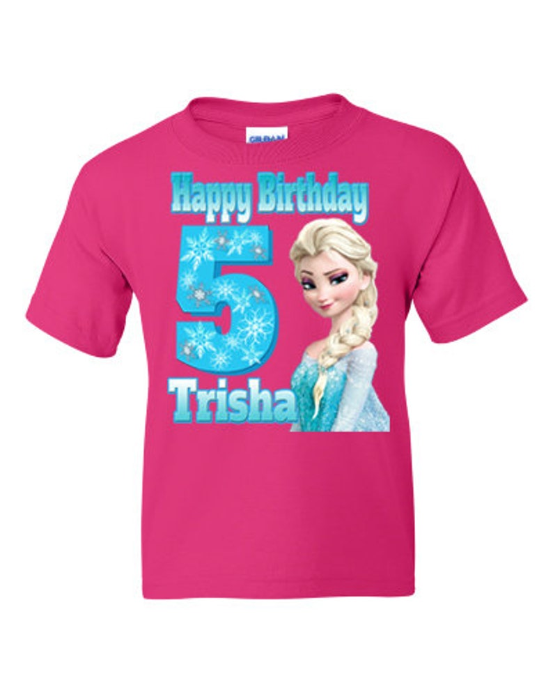 add name and age Choice of pink or white tshirt Birthday Personalized Elsa Frozen shirt