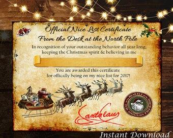 Personalized Christmas Santa Nice List Certificate - Blank Digital printable