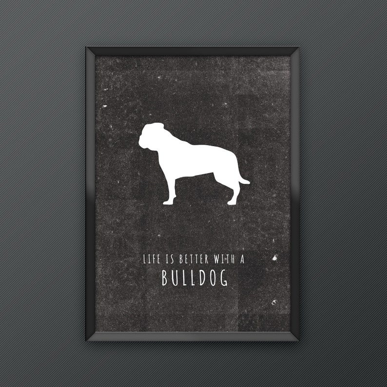 4df28e4a00f156 Bulldog Dog Print Poster series featuring iconic silhouette