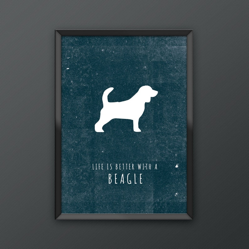 5f124b114f7ce7 Beagle Dog Print Poster series featuring iconic silhouette