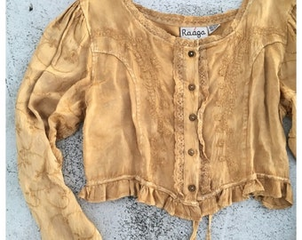 7e55643e68bf2 Sale Vintage Renaissance Style Long Sleeve Gold Embroidered Boho Top