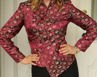 Vintage 60s Maroon and Gold Brocade Embroidered Chinese Oriental Jacket with Dragons