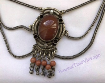 Vintage Sterling Silver Carnelian and Coral Statement Necklace