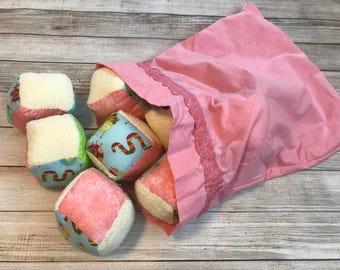Pink Bug (8) soft block set with bag