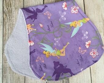 Purple Tinker Bell Burp Cloth