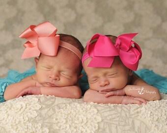 Set of Large Bow Headbands, Baby Headband, Newborn Bow Headband, JoJo Bow, Infant Headbands, Baby Headbands, Clips, Baby Bows, Headbands Set