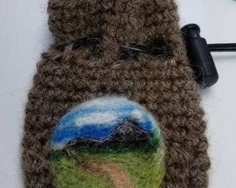 Blue and Green Alpaca Wool Crystal Bag  Coin Purse