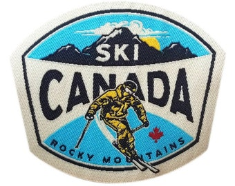 Ski Canada Iron On Woven Patch | Embroidered Sew On Rocky Mountains Patches | Outdoor Adventure Patch | Backpack and Jacket Travel Patches