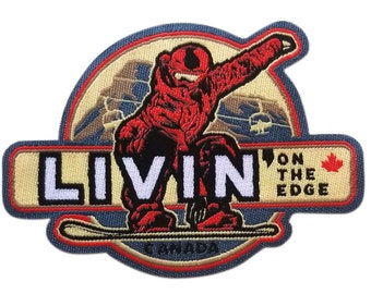 Livin On the Edge Iron On Patch | Embroidered Sew On Snowboard Patches | Outdoor Adventure Patch | Backpack and Jacket Travel Patches