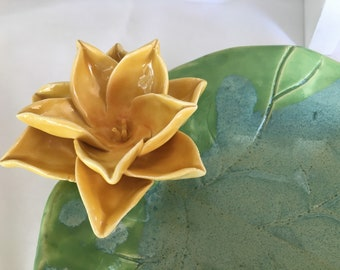 Lily Pad Serving Bowl Sunny Yellow Lotus Sculpture