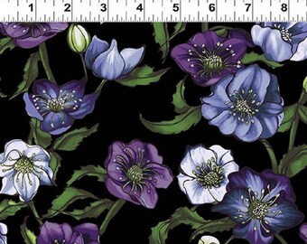 LENTEN ROSE designed by Cedar West for Clothworks - bty - Y2278-3