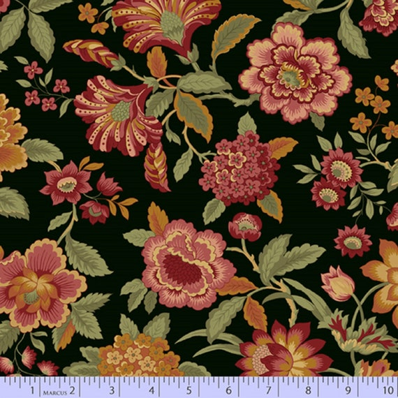 100/% Premium Cotton Jacobean Floral Style Floral Tarrington by Nancy Rink for Marcus Fabrics Lady J Cream 0741-0141 by 12 Yard