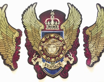 d1a700dabc9 Beautiful Versace Embroidered 3pc Sew On Appliqué Patch Motif DIY Wings  Denim Jacket