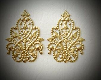 48mm Large Brass Filigree Metal Fashion Stamping (2pcs) USA Seller