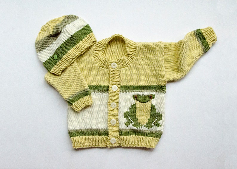 ac6e94512 Knitting Pattern Frog Cardigan and Matching Cap 12 18 and