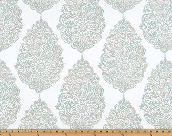 Yorkshire Taupe Canal Damask Fabric Premier Prints by the yard