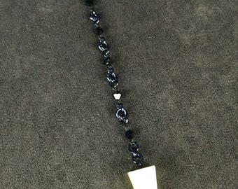 Chain Maille Pendulum with Swarovski Crystals and Gold and Black Pyramid
