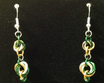 Fan Maille - Green, Gold and Silver Mobius Earrings