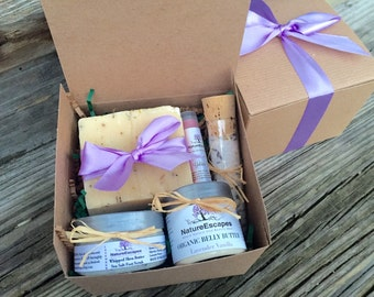 Expecting Mom Gift Birthday For 1st Time Pregnancy Set Soap Organic Belly Butter Lavender Foot Scrub Bath Salt And Lip Balm