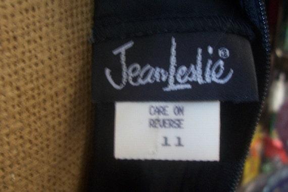 Jean Leslie little black dress balloon bottom dot… - image 5