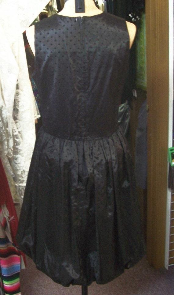 Jean Leslie little black dress balloon bottom dot… - image 2