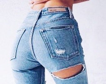 862dadccbaf81 Cheeky Distressed jeans  Sexy grunge jeans mom jeans kylie Jenner plus size S-XXL All  Brands levis lee wrangler boyfriend jeans Skinny Jeans