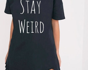 cb03d63f4215d Oversized Womens Distressed T shirt dress, Inspirational Tee, Grunge tee, womens  shirt, stay weird tee, womens shirt dress, tshirt dress