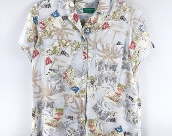 728b0591 Vintage Hawaiian Shirt liz Claiborne 1980's Cotton Floral shirt Unisex  Small Hawaiian shirt